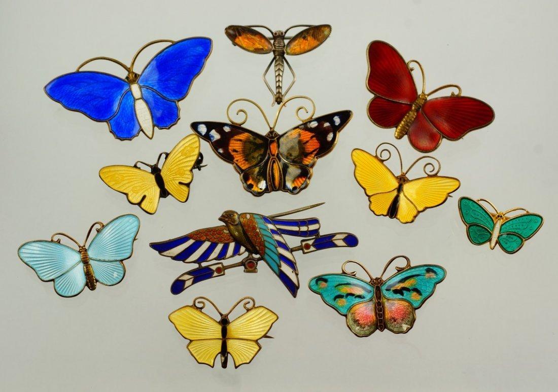 11 enameled sterling silver butterfly pins, 10 Danish,