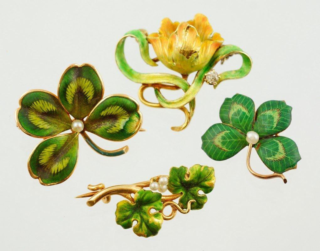 (4) enameled YG floral pins, 3 stamped 14K, one tests