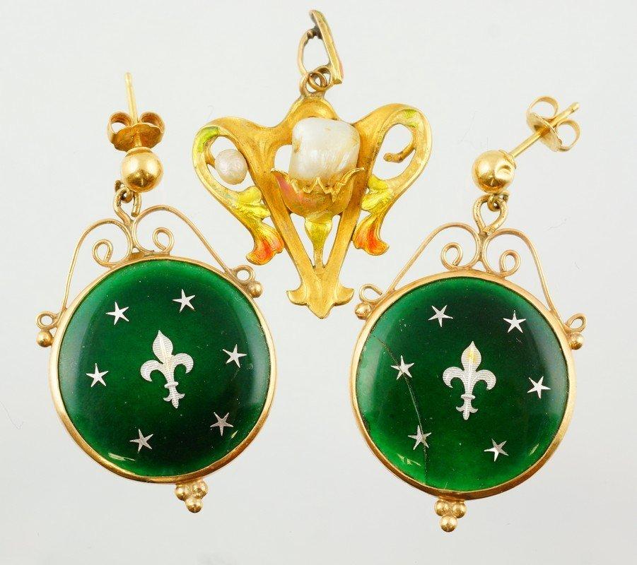 """14K YG pearl pendant, 1"""" h, w/2 enameled 14K YG"""
