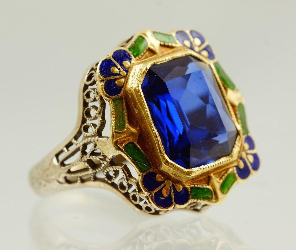 14K WG filigree enameled ring with emerald cut blue