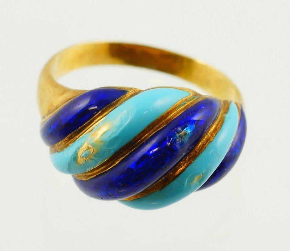 18K Italy YG enameled ring, size 7, 3.8 dwt