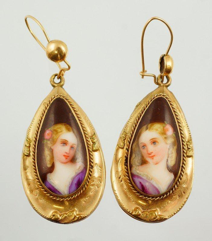 Pr unmarked YG earrings set with porcelain portrait