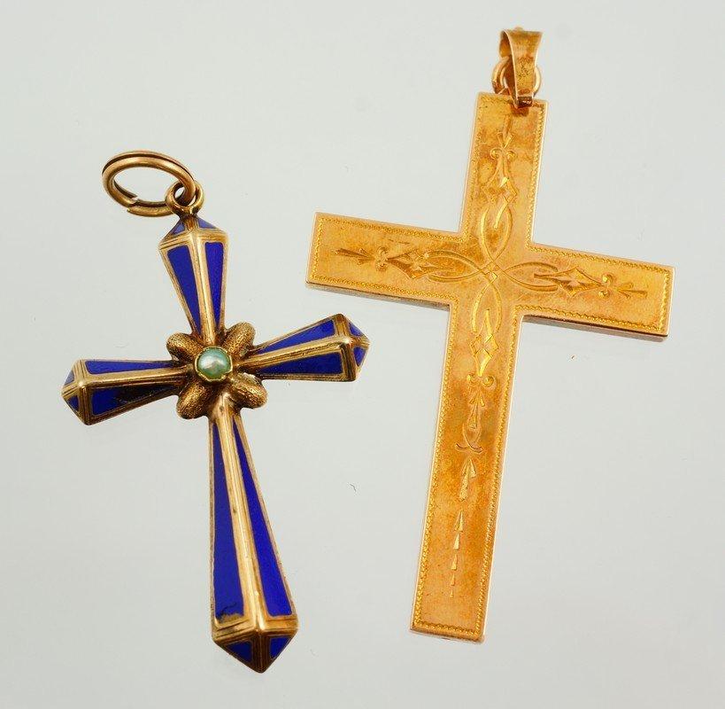 (2) unmarked YG crosses, one w/ enamel, longest 2', 5.4
