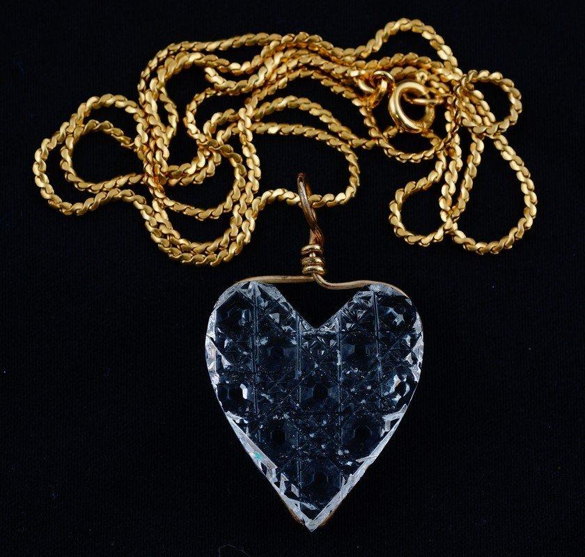 """Cut crystal heart pendant, GF bail, on a 20"""" 18K YG"""