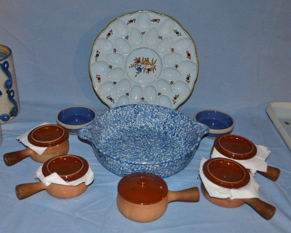 Italian deviled egg plate, blue spongeware basin, five