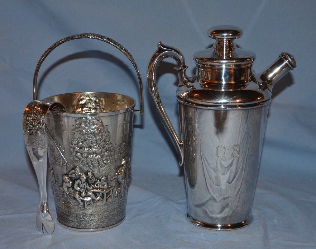 Danish silver plate ice bucket with tongs, along with a