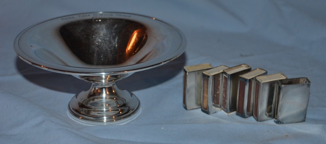 Weighted sterling silver compote with 1962 Rose Tree