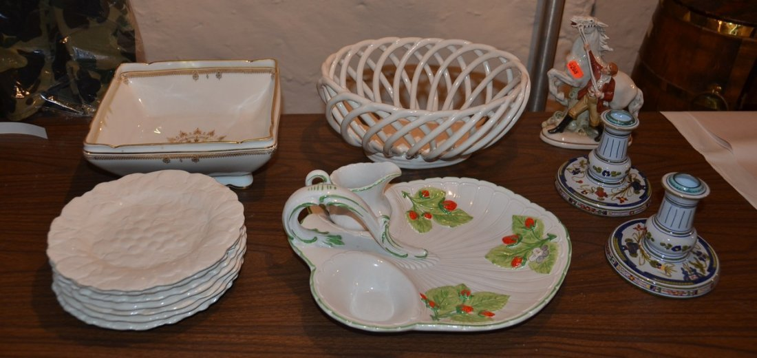 CF Havilland square bowl, pair of Italian candlesticks,