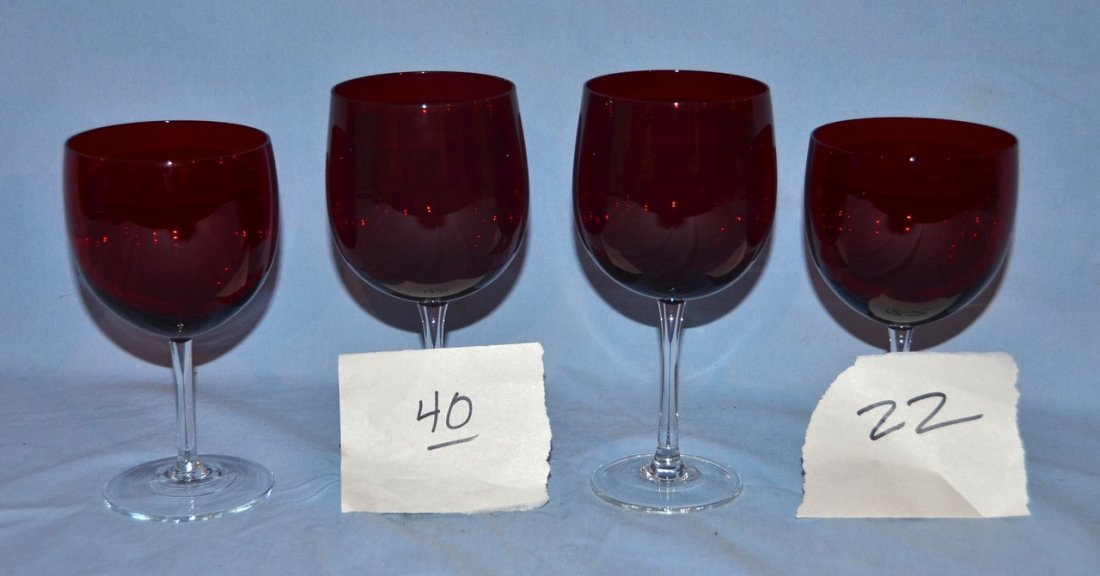 "(22) 8 1/4"" ruby and clear goblets with (40) 7 1/4"""