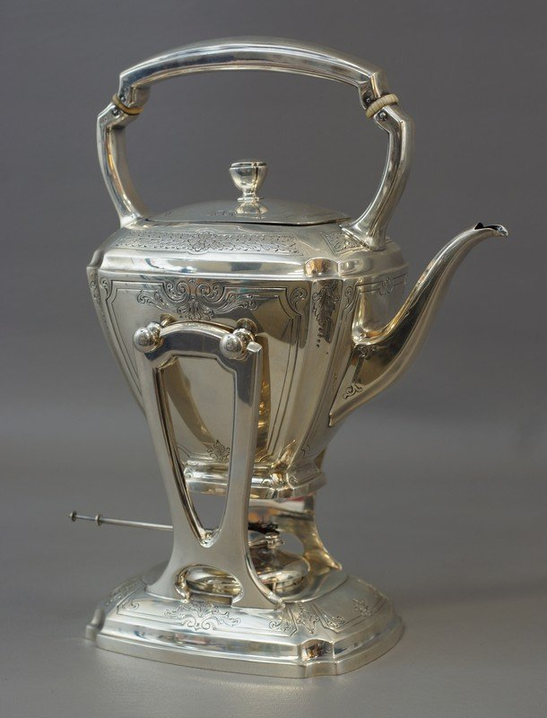 Whiting sterling silver tilting kettle on stand,