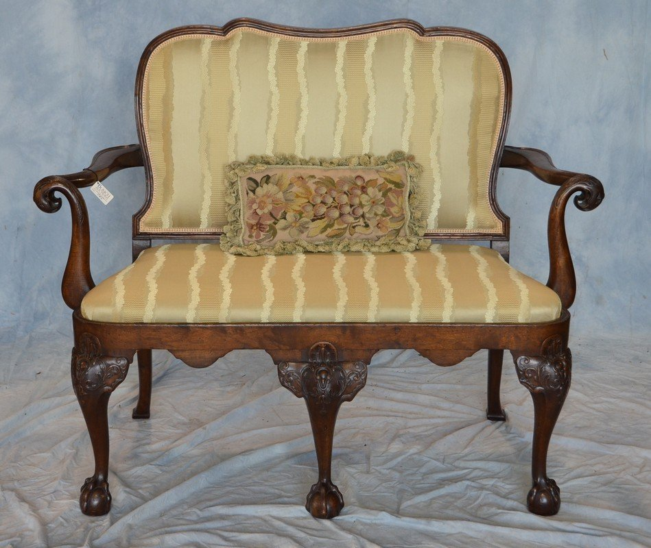 Queen Anne style open arm settee, carved knees, molded