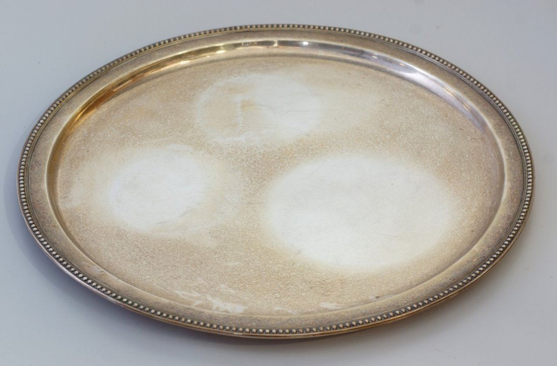 Tiffany & Co sterling silver round tray, beaded edge,