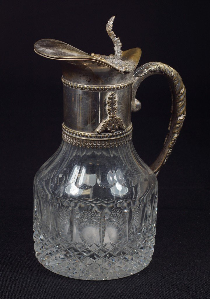 Crystal claret jug with silver plated mounts, interior