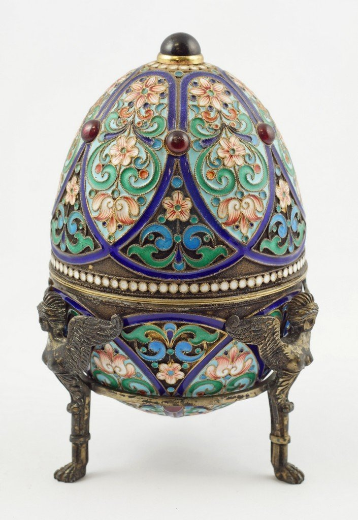 Enameled Imperial Russian silver egg with vermeil