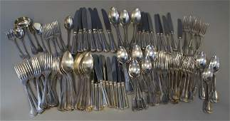 78 pcs Christofle Chinon pattern plated silver flatware