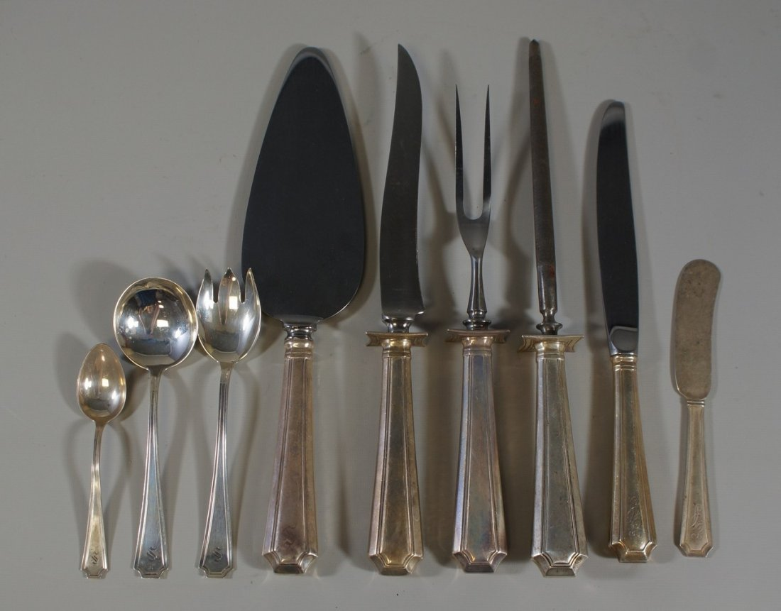 67 pcs sterling silver flatware, blended pattern