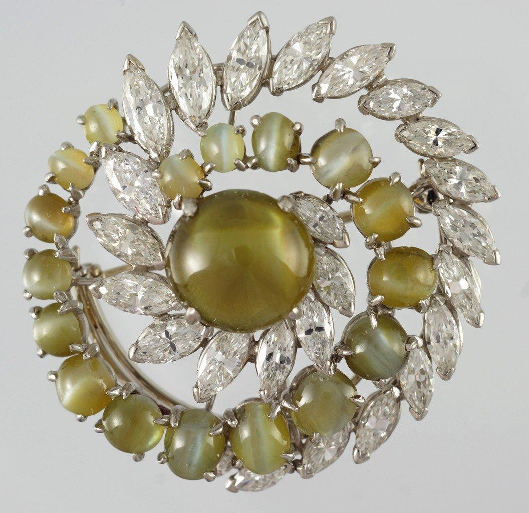 Platinum Chrysoberyl Cat's Eye & Diamond Spiral
