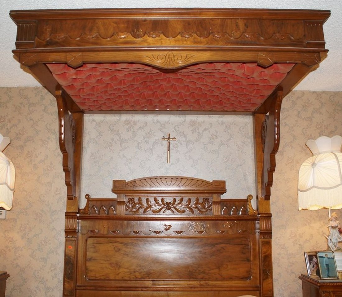 Carved Walnut Victorian half canopy bed in the Eastlake - 3
