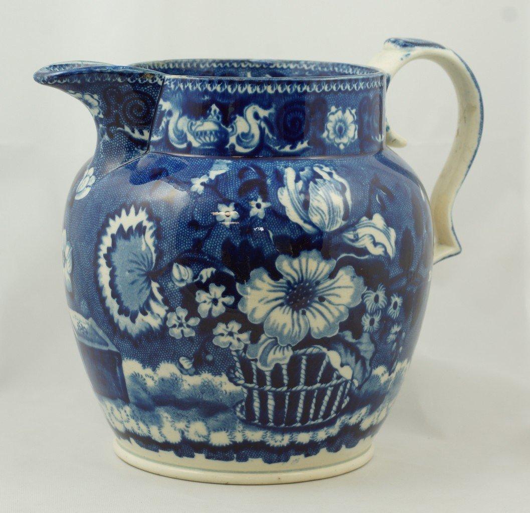 English dark blue Staffordshire soft paste pitcher,