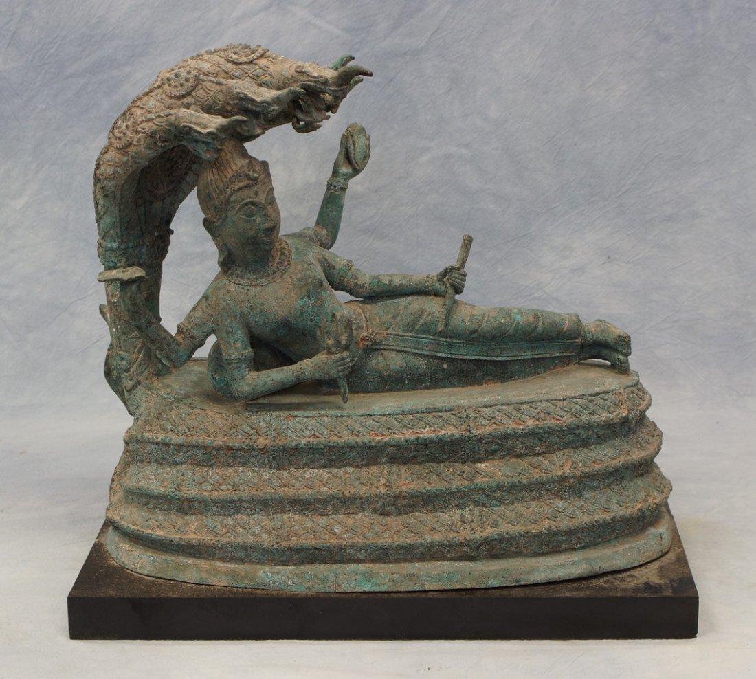 Thai bronze figure of Buddha in parinirvana, 19th/20th
