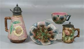 (2) pcs Etruscan majolica, pink sunflower syrup