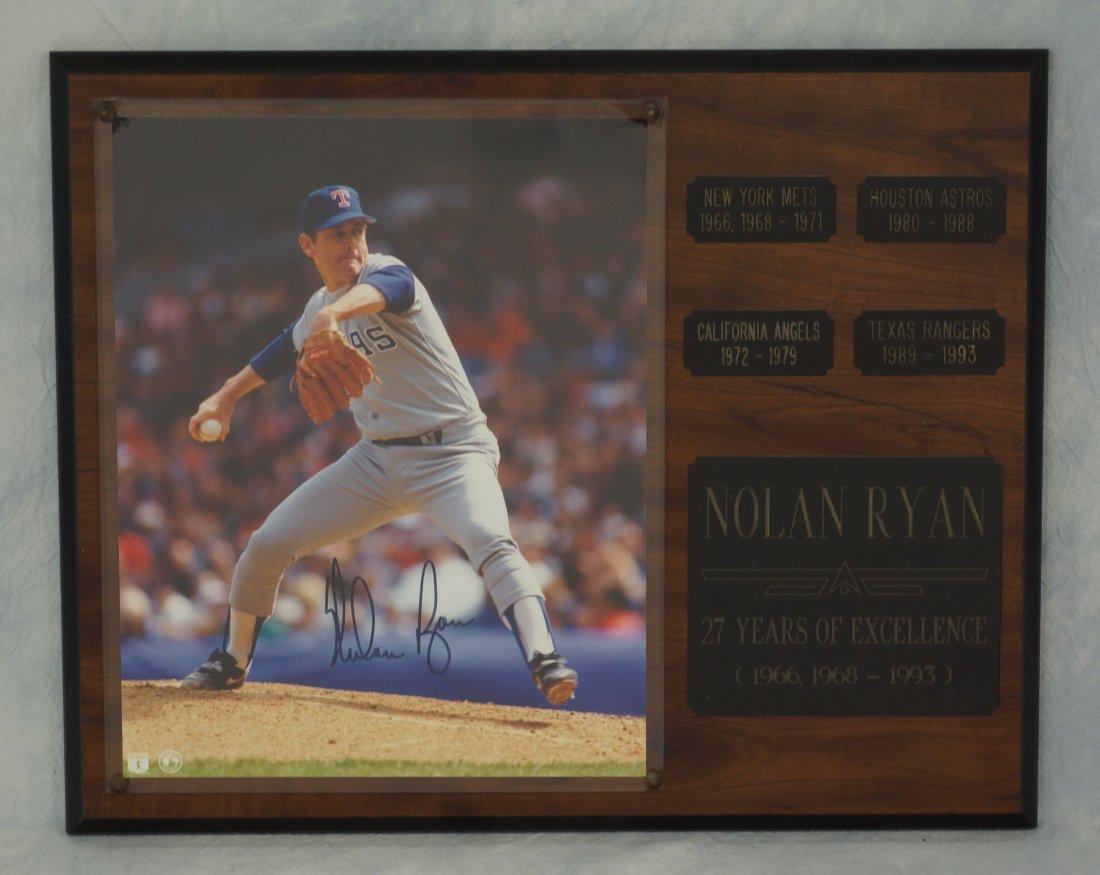 Nolan Ryan, autographed 8X10 Plaque - Texas Rangers