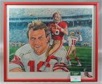 Joe Montana autographed print on canvas, pictured as