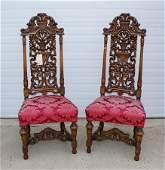 Pair of carved soft wood Renaissance Revival highback