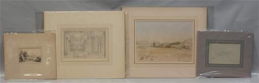 (4) British School, 19th/20th Century, Pencil on paper,