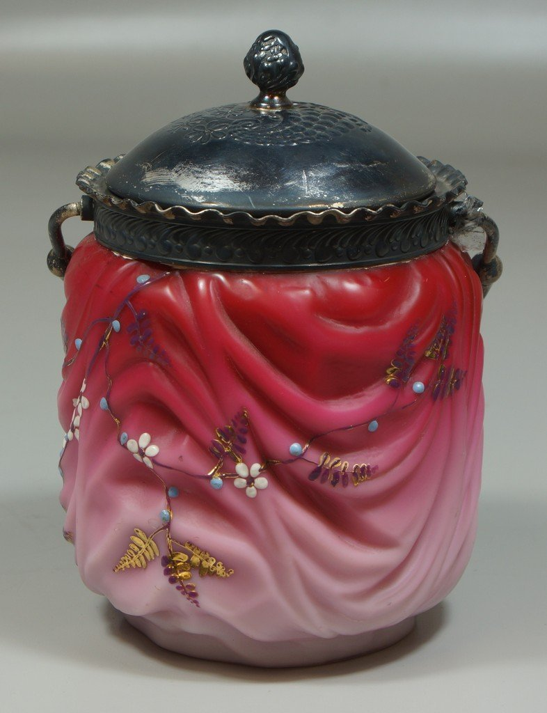 Cranberry to pink satin glass enameled Victorian
