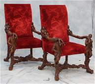 Pr 19th c Carved Walnut Figural Armchairs in the manner