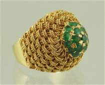 18 K YG  and Emerald ladies dome ring basket weave