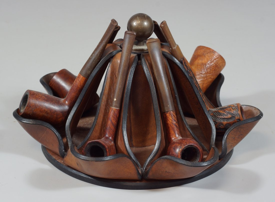 Leather pipe stand with 7 Liverpool style pipes