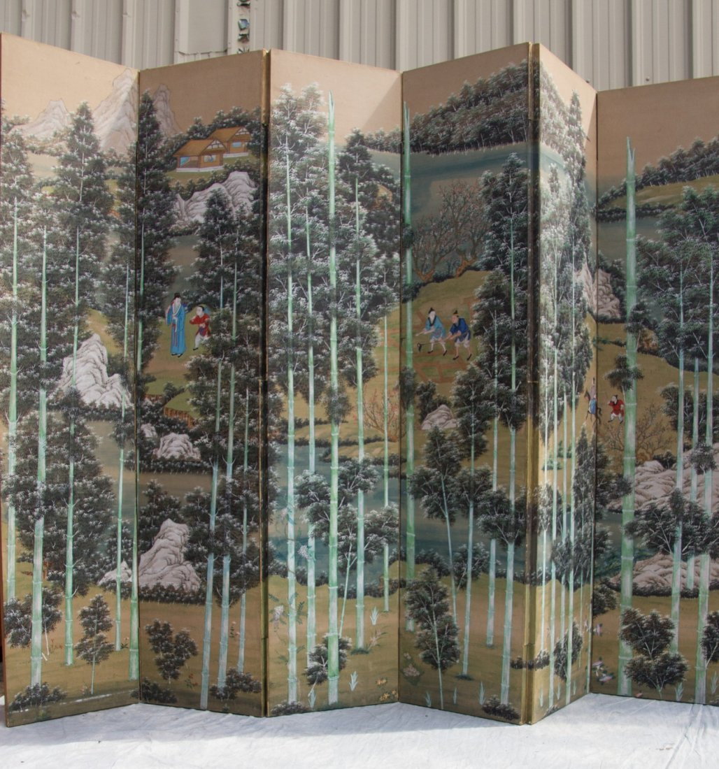 6 panel Chinese  watercolor folding screen,