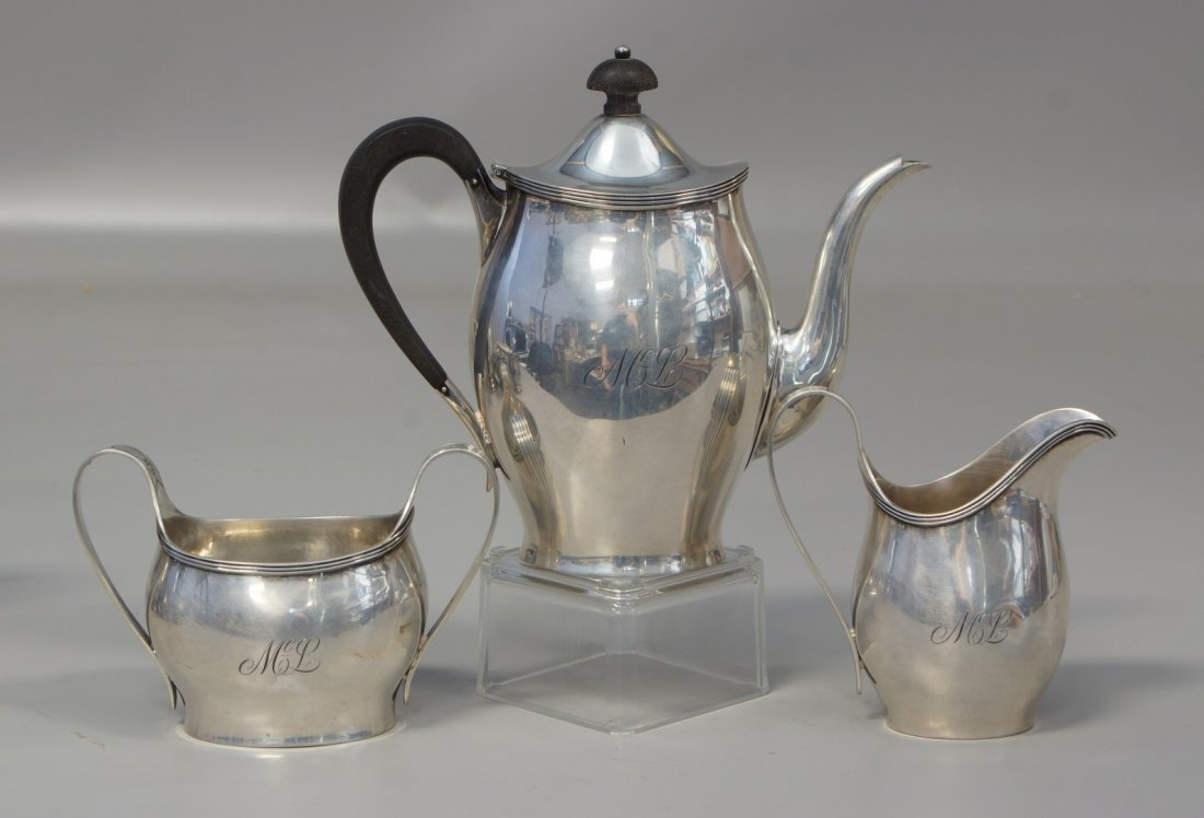 3 pc Tuttle sterling silver tea set, mark for the