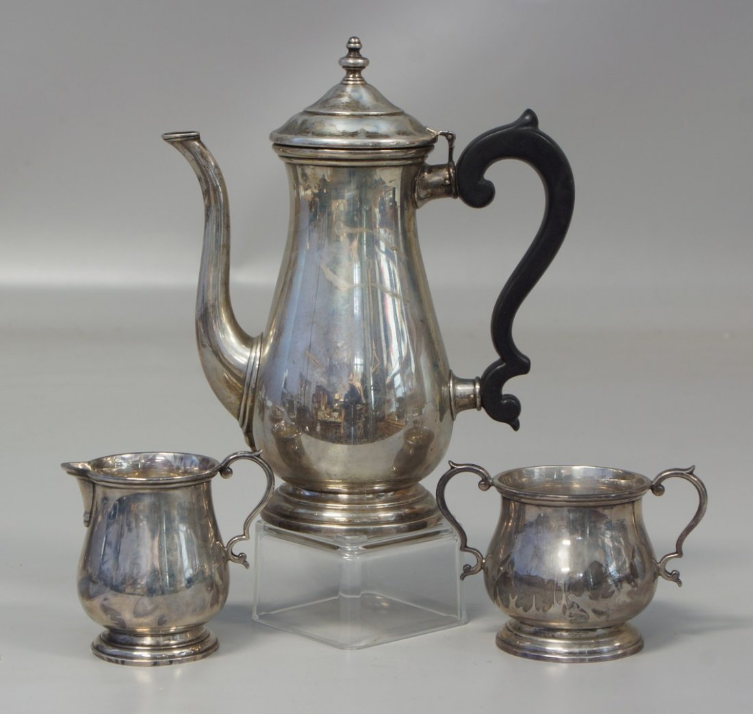 3 pc Lunt sterling silver Paul Revere Reproduction tea