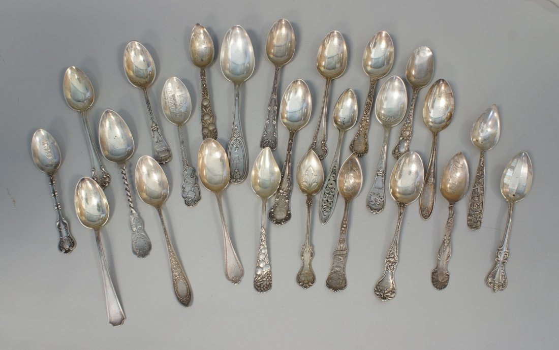 25 sterling silver teaspoons, citrus spoons, some with