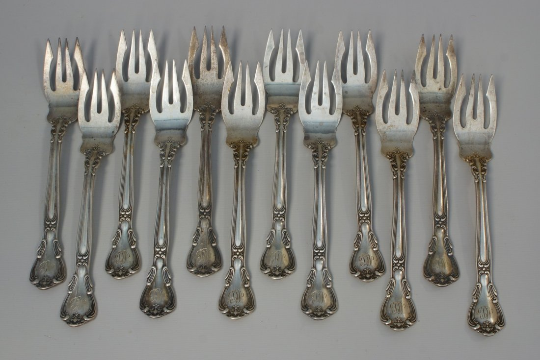 12 Gorham Chantilly sterling silver salad forks,