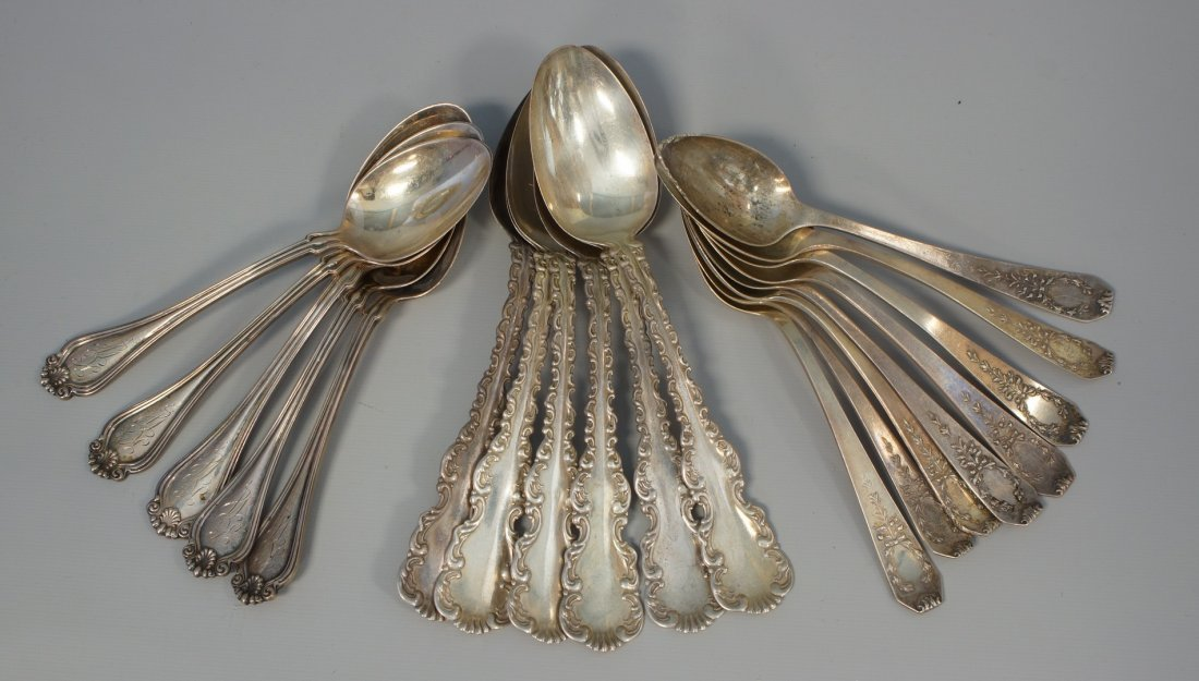8 Whiting Adam sterling silver teaspoons,6 Whiting