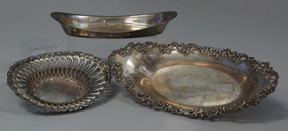 (3) oval sterling silver trays, 2 w/pierced work,
