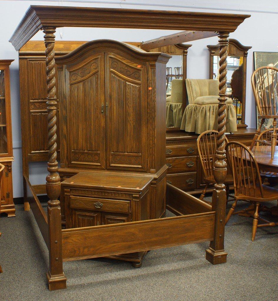 4-piece oak Ethan Allen Canopy BR  set (Royal Charter)