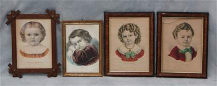 4 Currier  Ives Prints to include Little