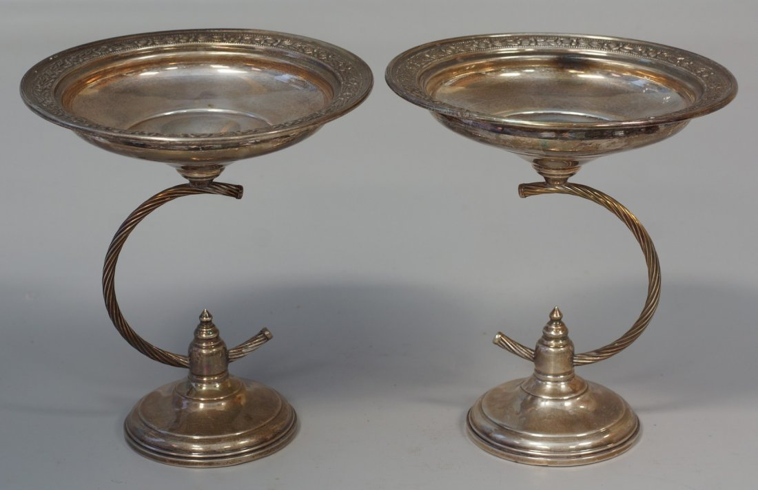 Pair of Columbia sterling silver compotes with floral