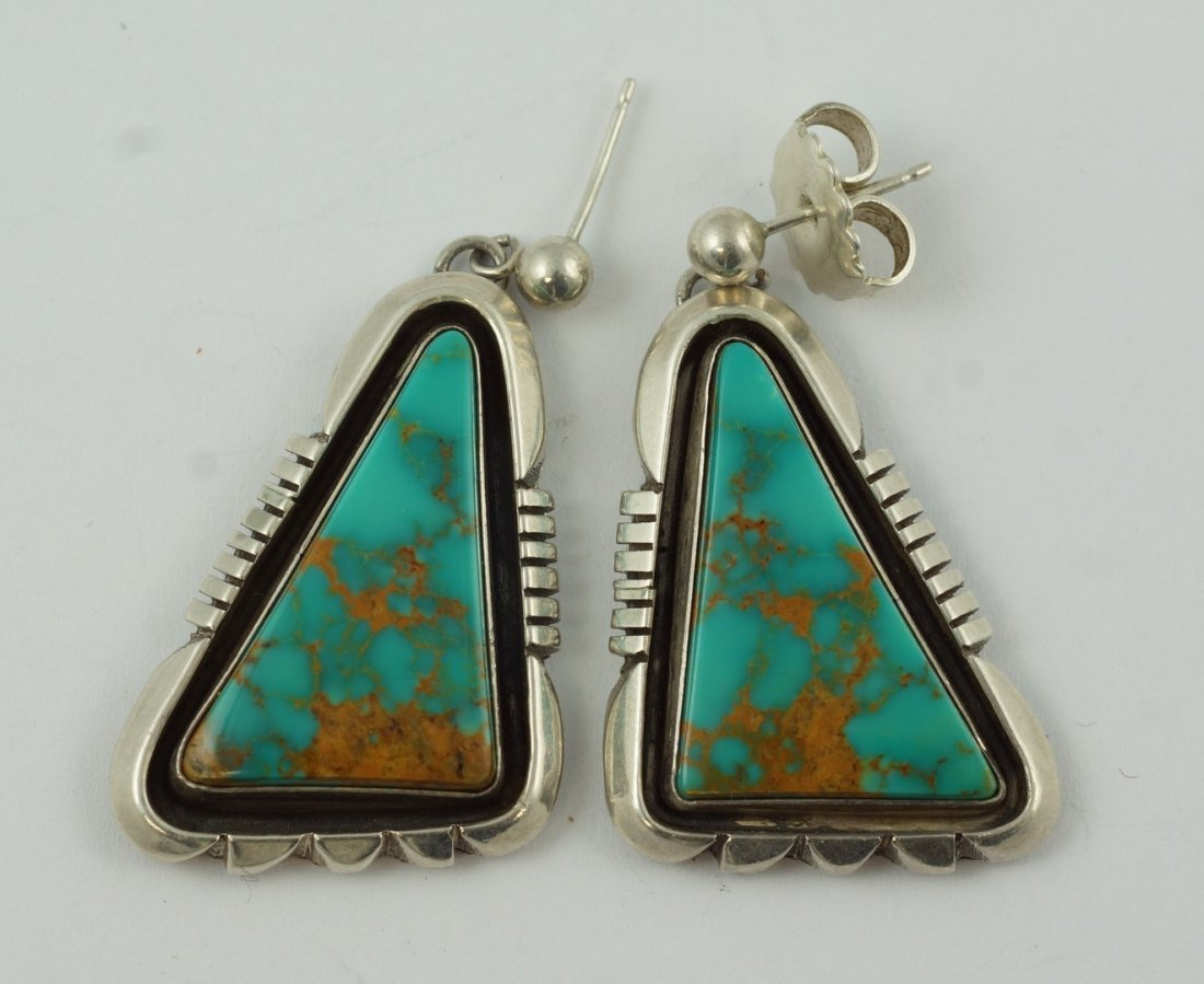 Silver & turquoise post earrings, 2 triangle shaped