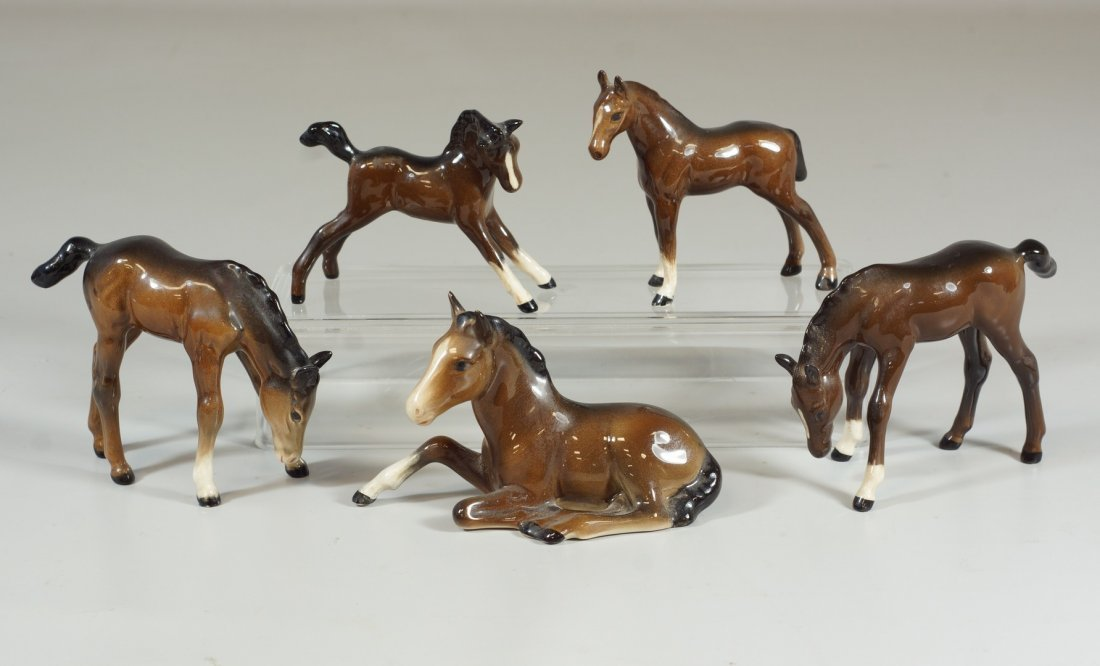 """5 Beswick brown horses, marked, 3-1/2"""" tallest, very"""