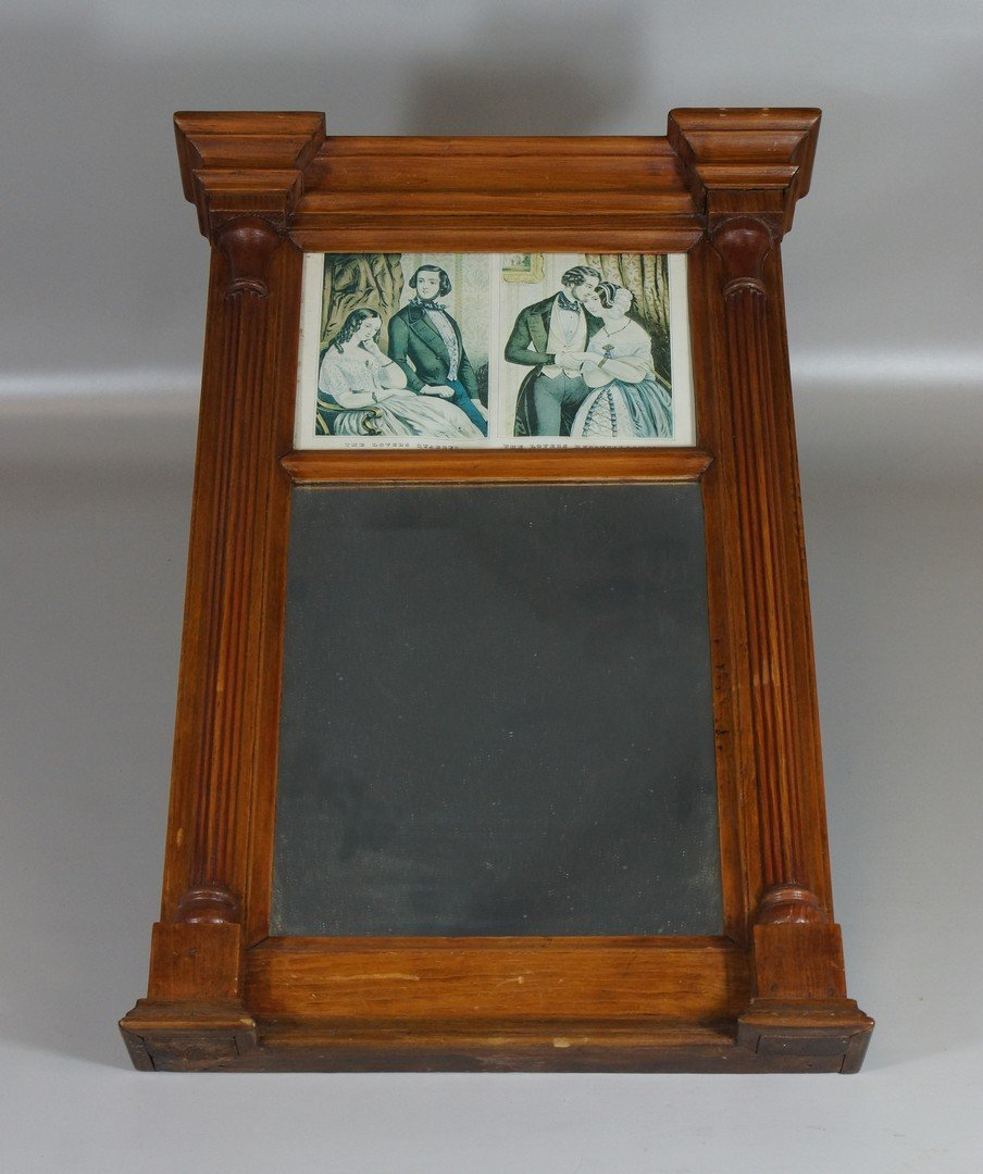 Pine Sheraton wall mirror, with double Currier & Ives