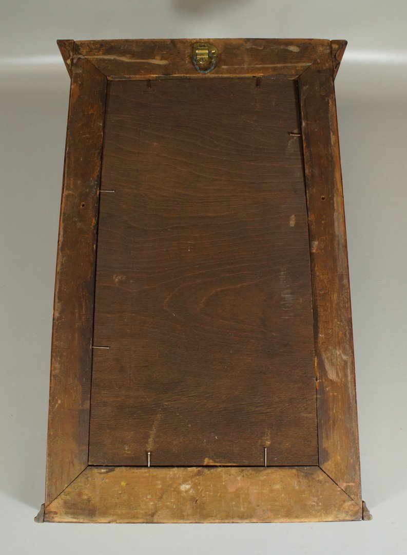 Pine Sheraton wall mirror, with double Currier & Ives - 2