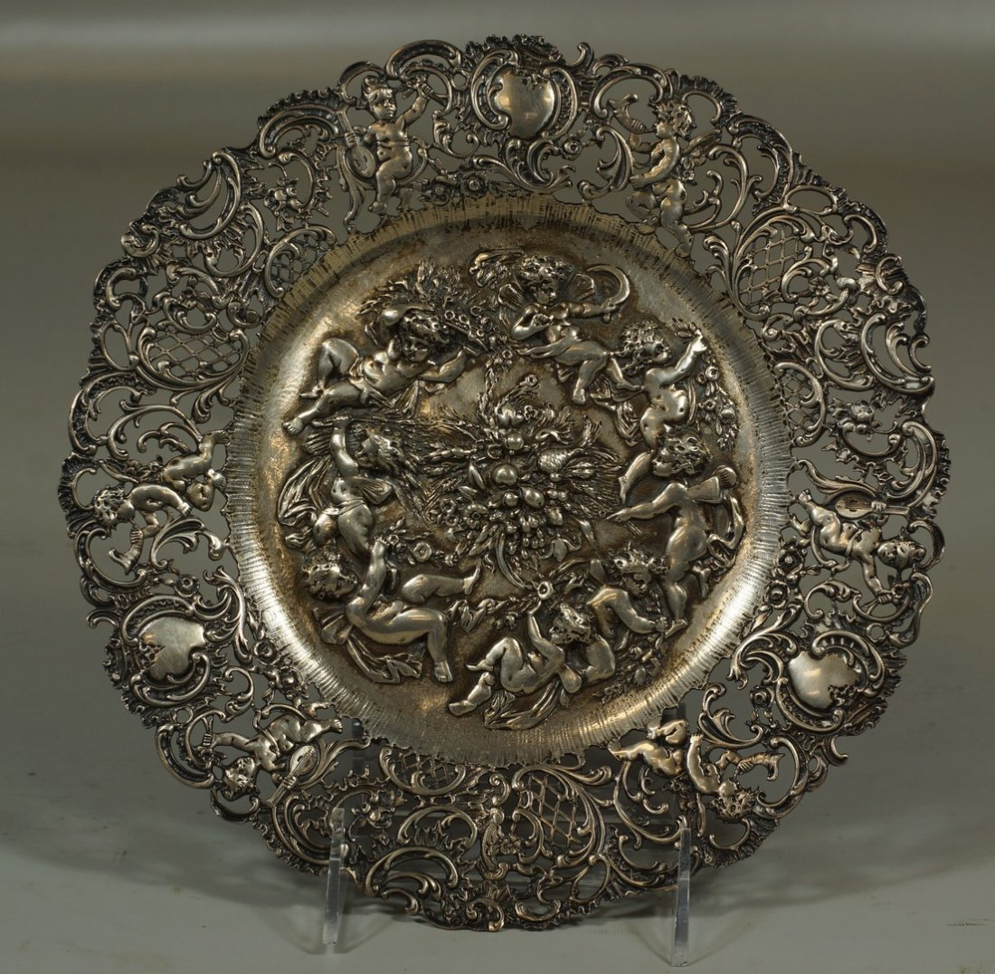 Pierced and repousse Continental silver plate with