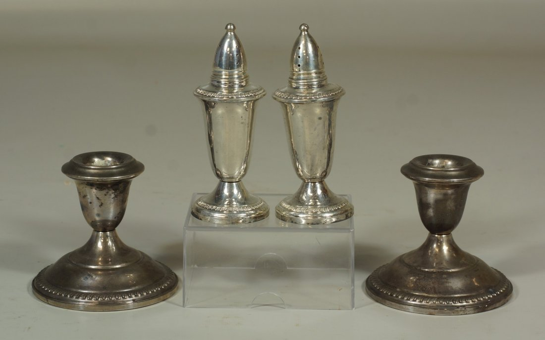 Pair of weighted sterling shakers & pair of weighted