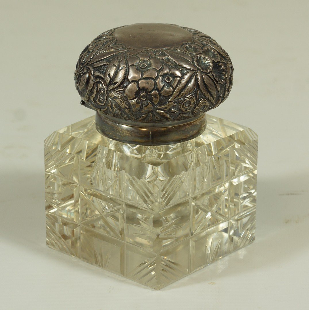 Crystal inkwell with sterling repousse top marked